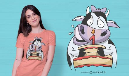 Design de t-shirt de aniversário de vaca bebê