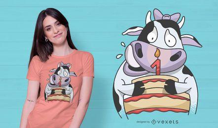 Design de t-shirt de aniversário de vaca para bebé
