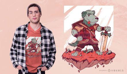 Projeto do t-shirt do guerreiro do cão