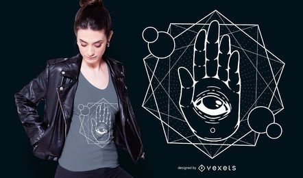 Design de t-shirt de mão de olho de Hamsa