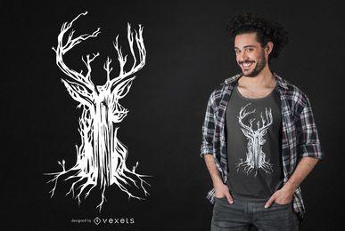 Design de t-shirt de árvore de veado