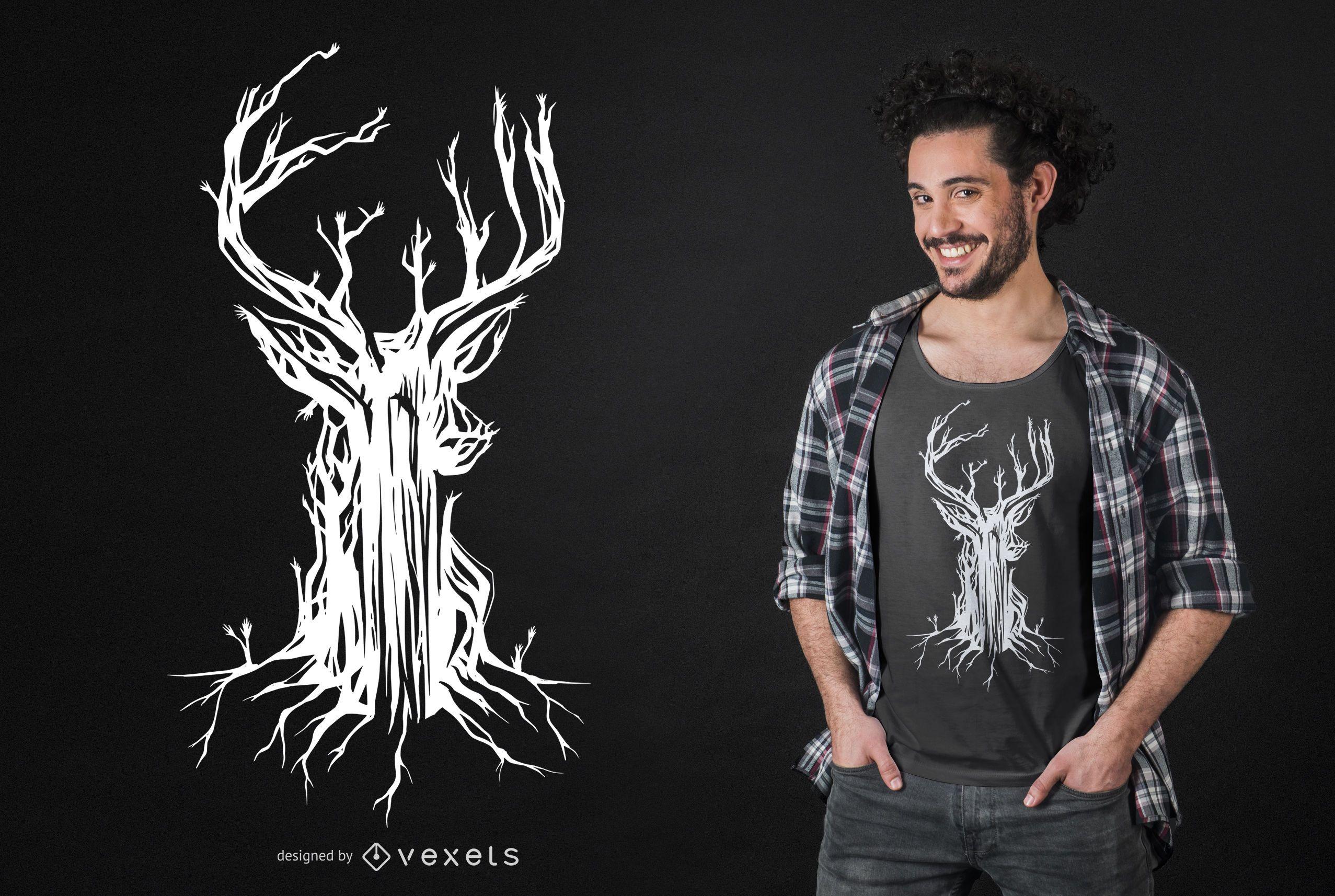 Deer Tree T-shirt Design