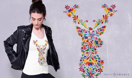 Diseño floral de camiseta de ciervo