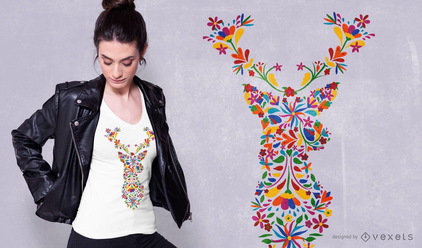 Diseño de camiseta de ciervo floral