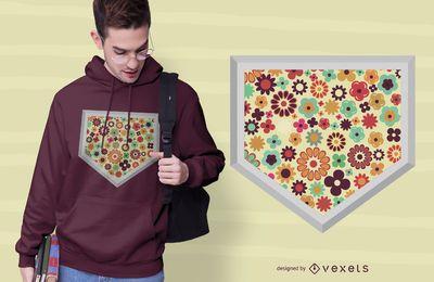 Design de t-shirt de placa de beisebol de flor em casa