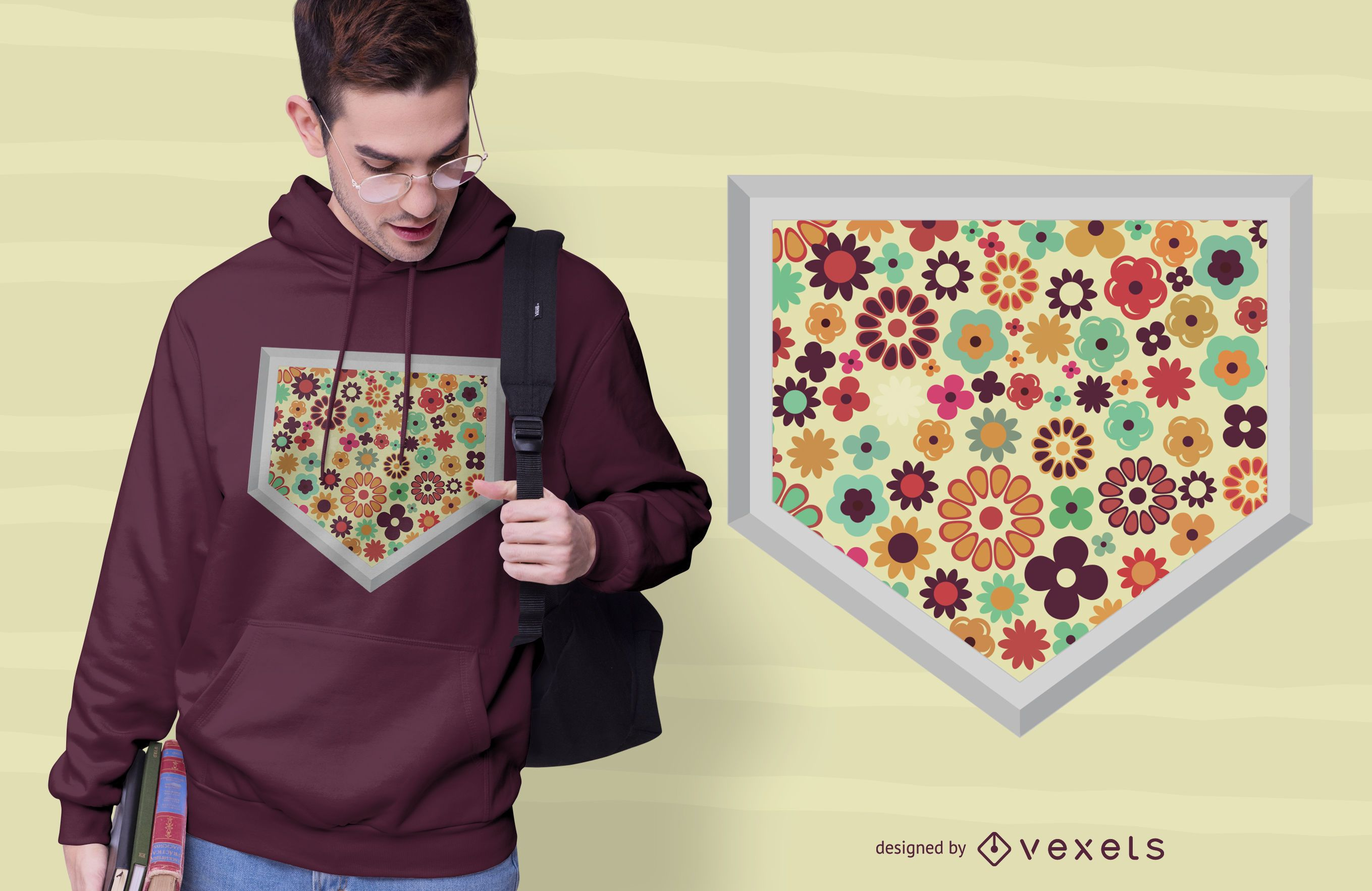 Flower Baseball Home Plate T-shirt Design