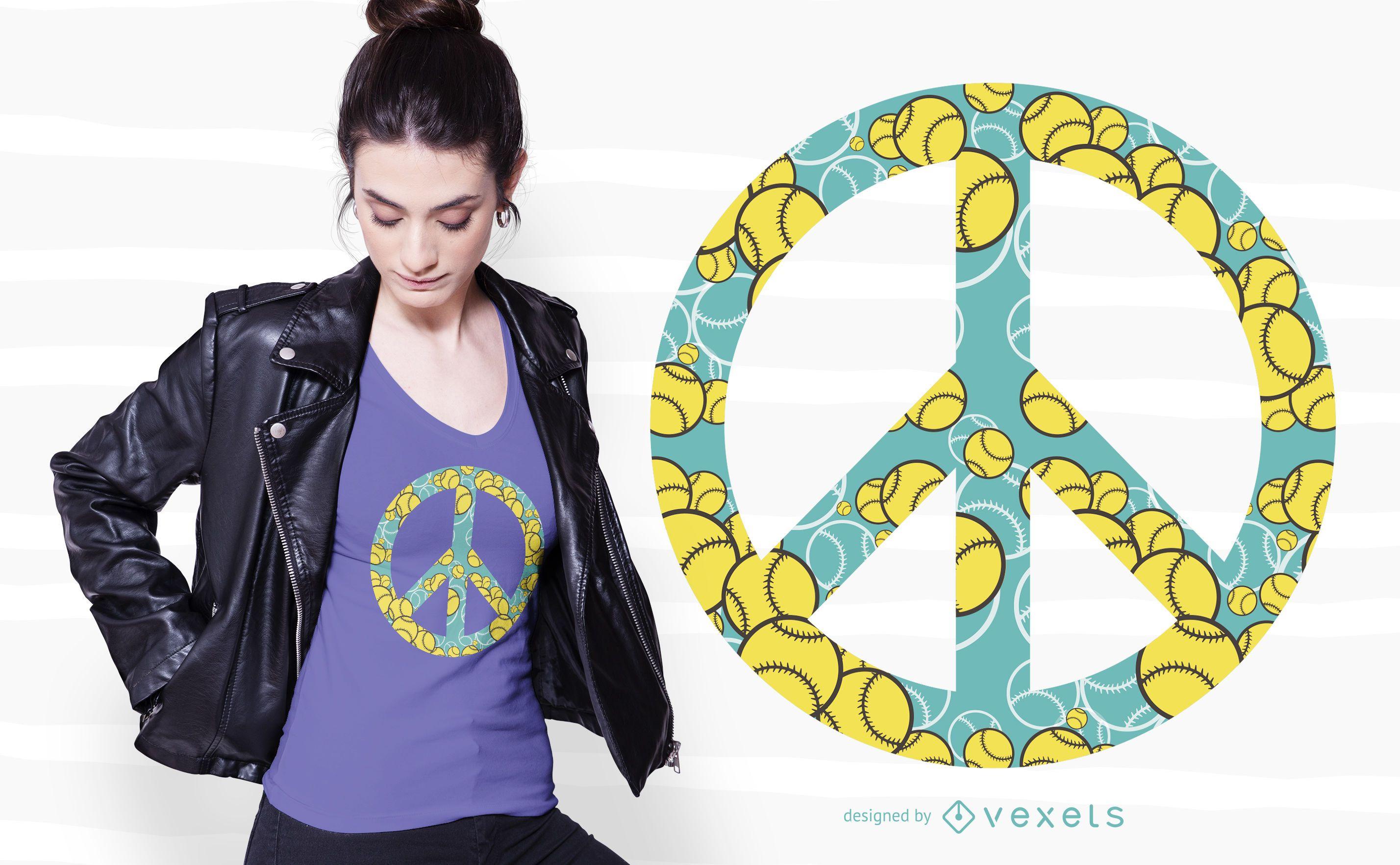 Dise?o de camiseta Tennis Peace Sign