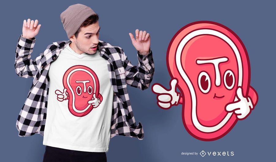 Cartoon steak t-shirt design
