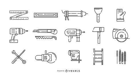 Conjunto de ícones de traço de faz-tudo