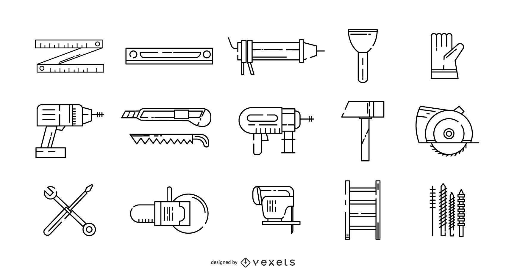 Conjunto de iconos de trazo de manitas