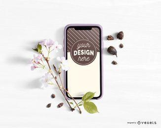 Maqueta floral de smartphone