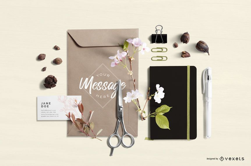 Floral stationery mockup composition