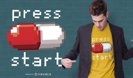 Design da camiseta para jogos de 8 bits do Press Start