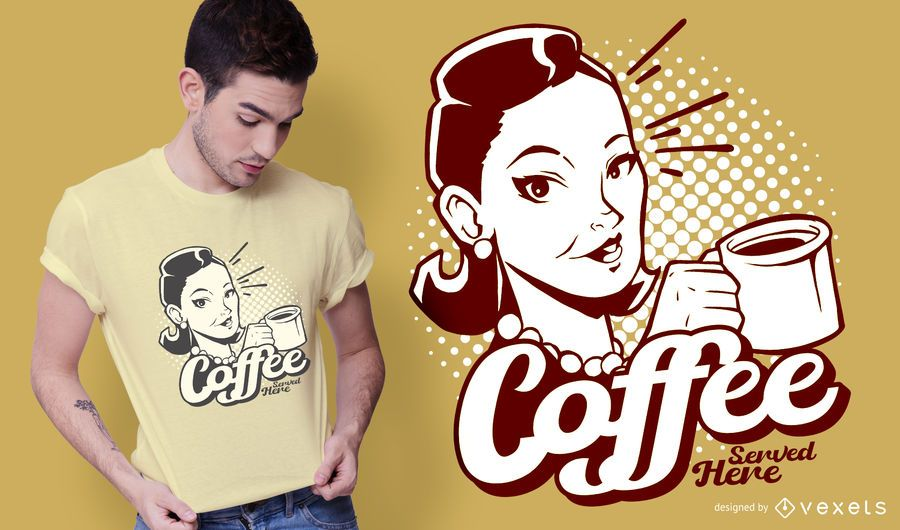 Diseño de camiseta vintage de café