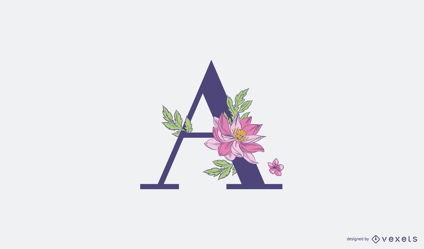 Plantilla de logotipo floral letra a