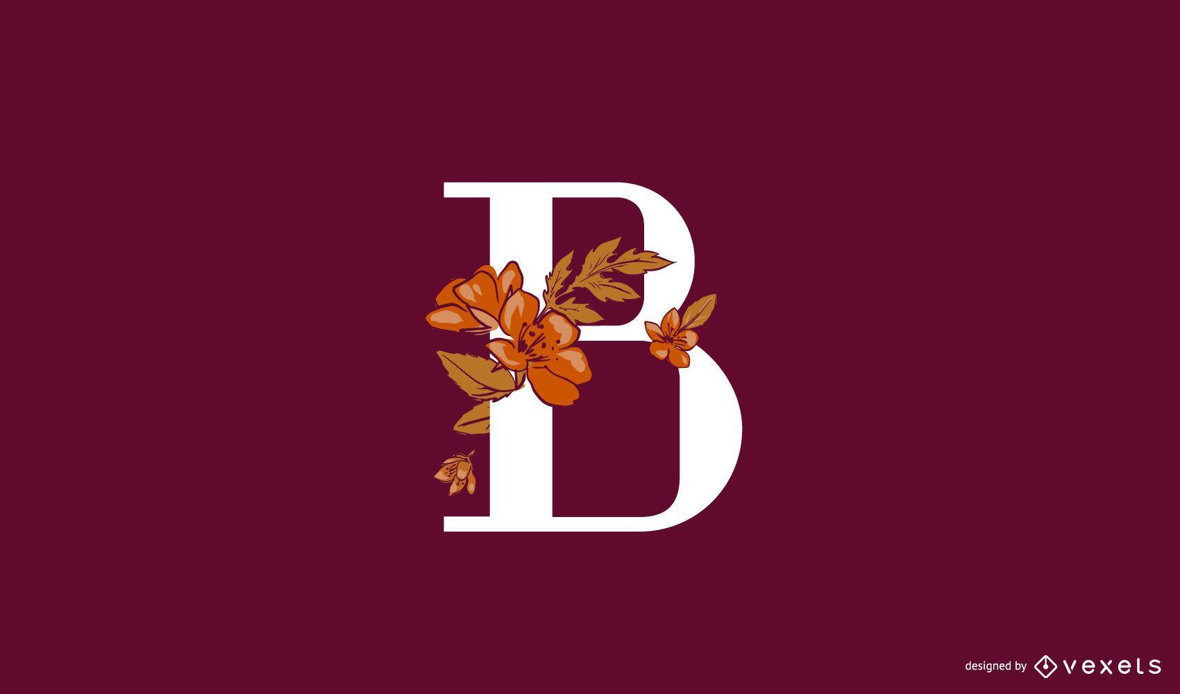 Plantilla de logotipo floral letra b
