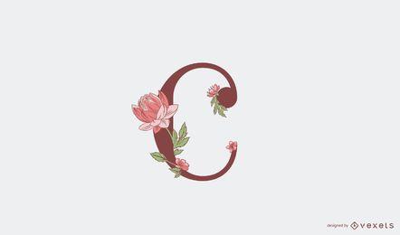 Plantilla de logotipo floral letra c