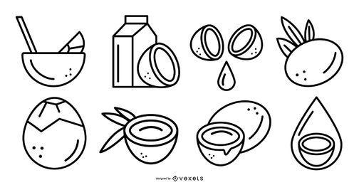 Conjunto de trazos de elementos de coco