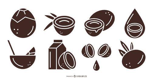 Kokosnussprodukte schwarz gesetzt