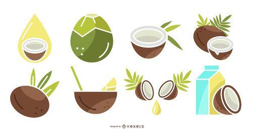 Conjunto de produtos de coco