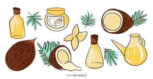 Conjunto de ilustración de productos de coco