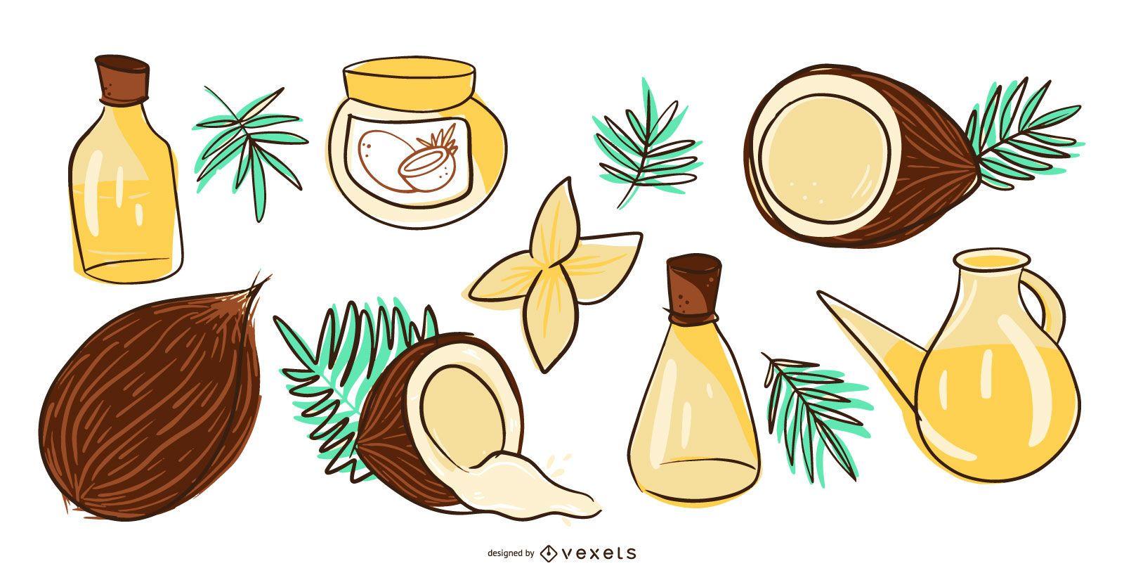 Coconut products illustration set