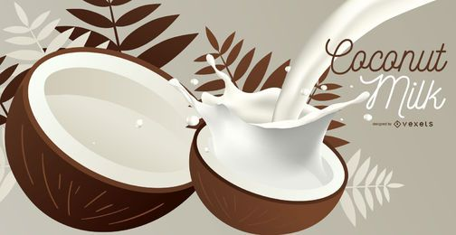 Coconut milk illustration