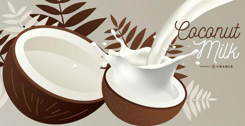 Ilustración de leche de coco