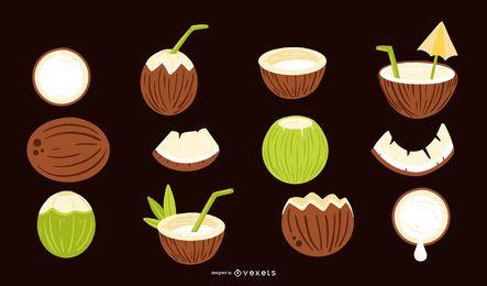 Colección de elementos de coco