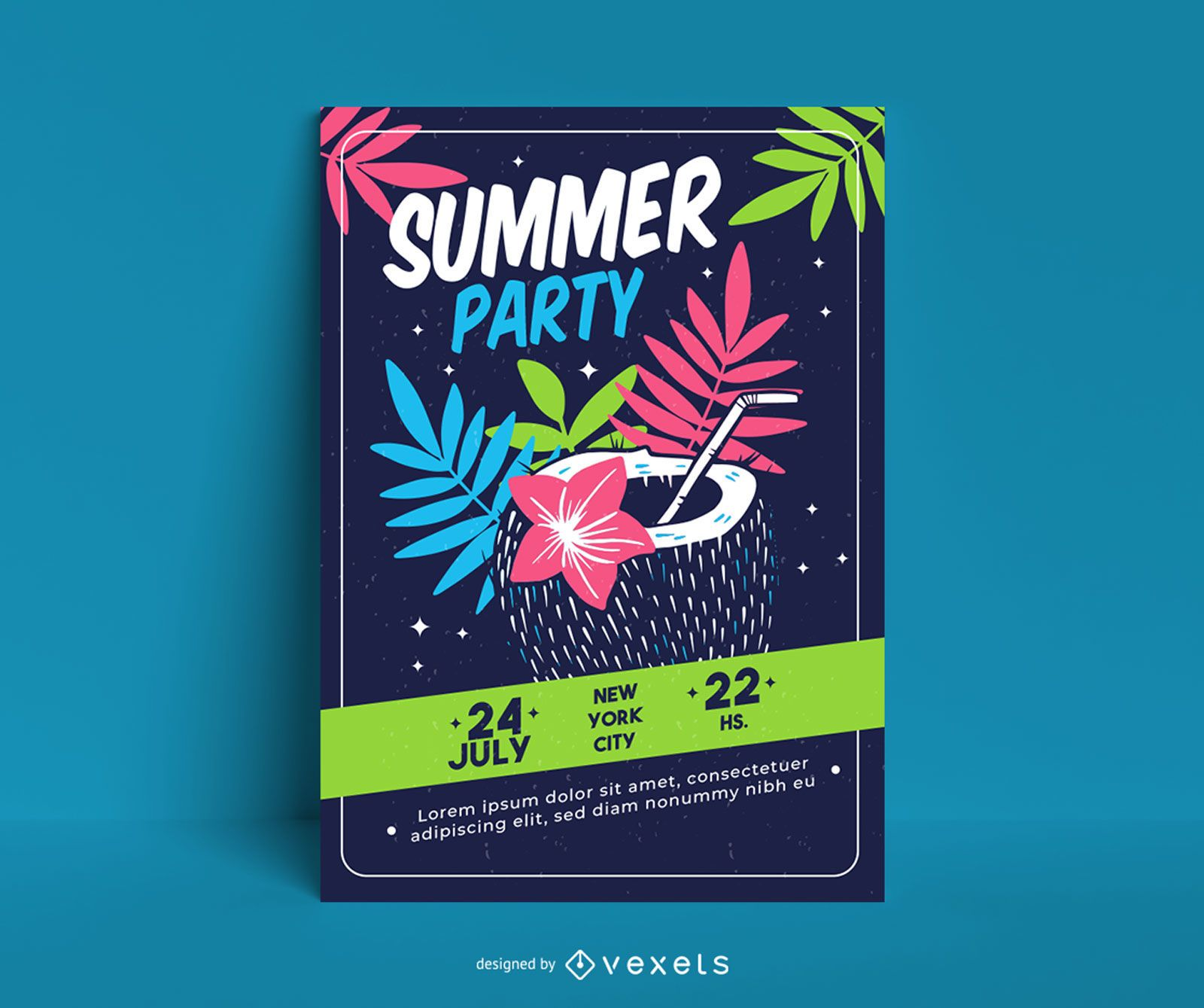 Summer party colorful poster template