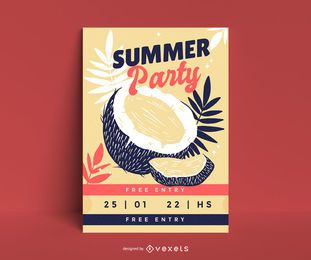 Coconut party poster template