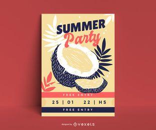 Plantilla de póster de fiesta de coco