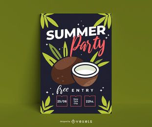 Cartel de fiesta de verano de coco