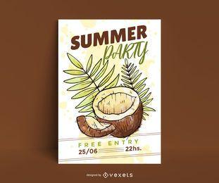Plantilla de cartel de coco fiesta de verano