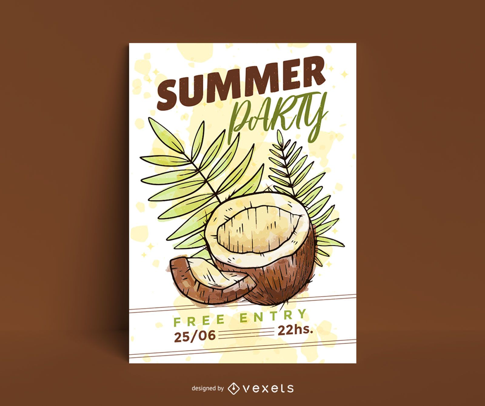 Summer party coconut poster template