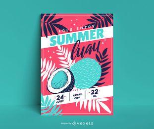 Cartaz de coco de luau de verão