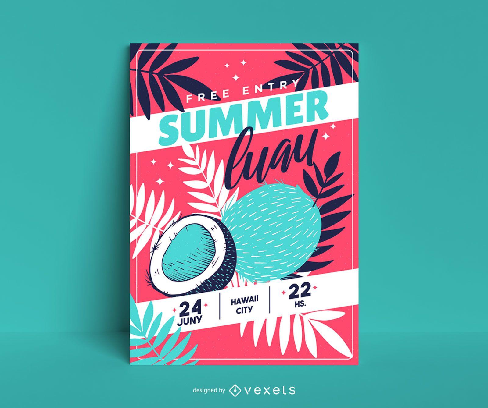 Cartel de coco luau de verano