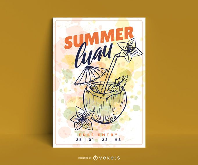 Summer luau coconut poster template