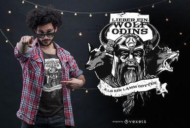 Diseño de camiseta con cita alemana del lobo de Odin