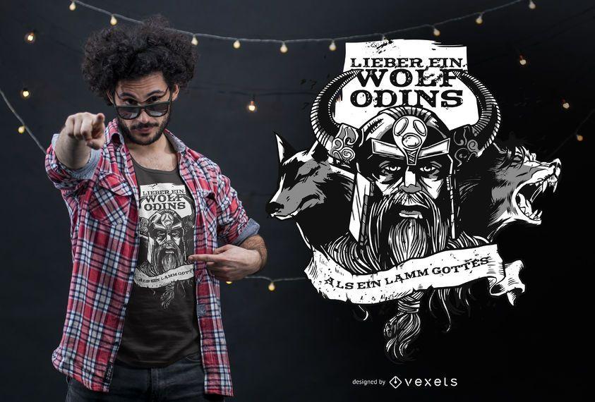 Design alemão do t-shirt das citações do lobo de Odin