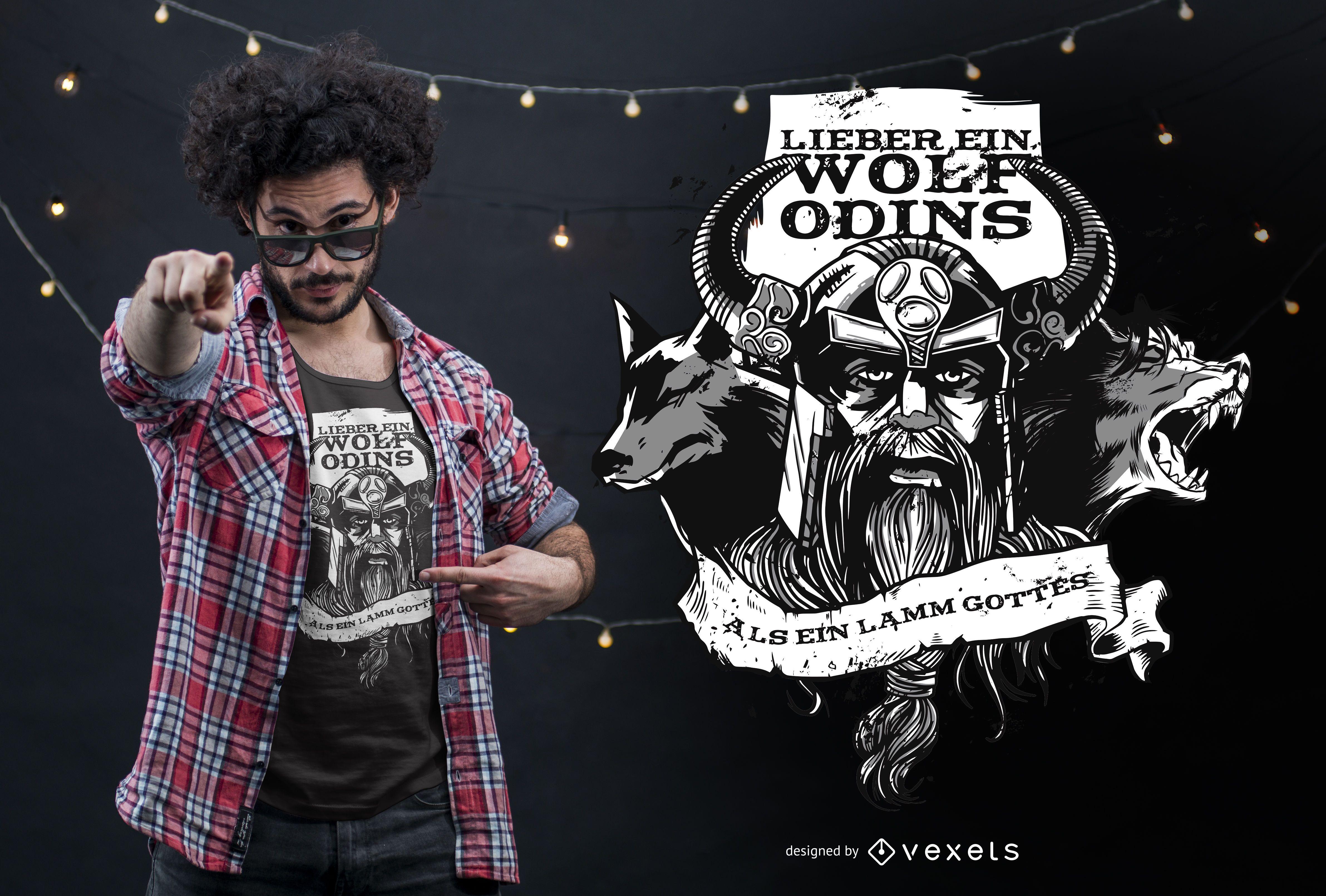 Dise?o de camiseta con cita alemana del lobo de Odin