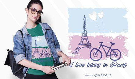 Passeio de bicicleta no design de t-shirt de paris