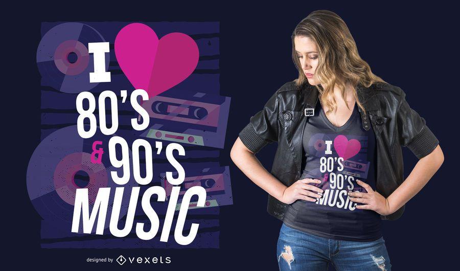 Diseño de camiseta de música de los 80 y 90