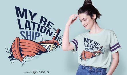 Design de camiseta de relacionamento afundando