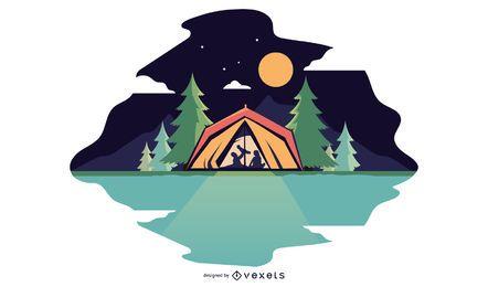 Ilustración familiar de camping nocturno