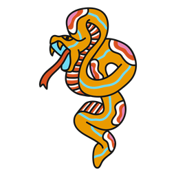 Old school snake fierce illustration
