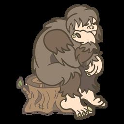 Sitting sasquatch illustration