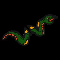 Ilustración de serpiente larga vieja escuela