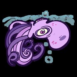 Ilustración de kraken de natación