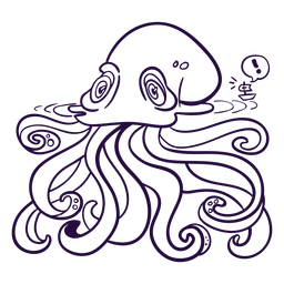 Ilustración de criatura marina kraken incolora